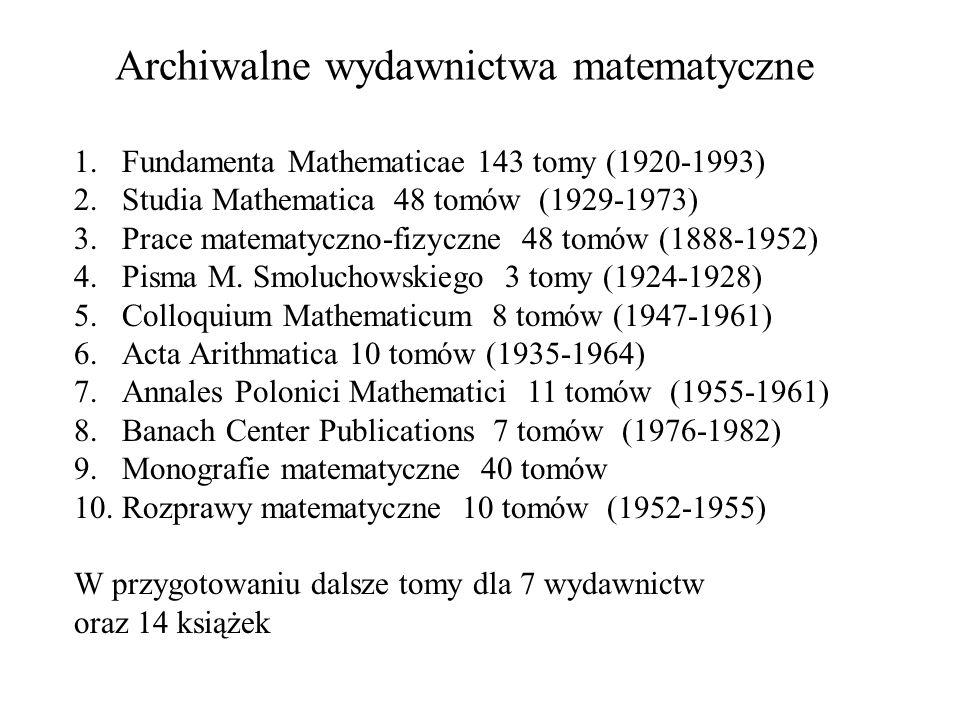 Archiwalne wydawnictwa matematyczne