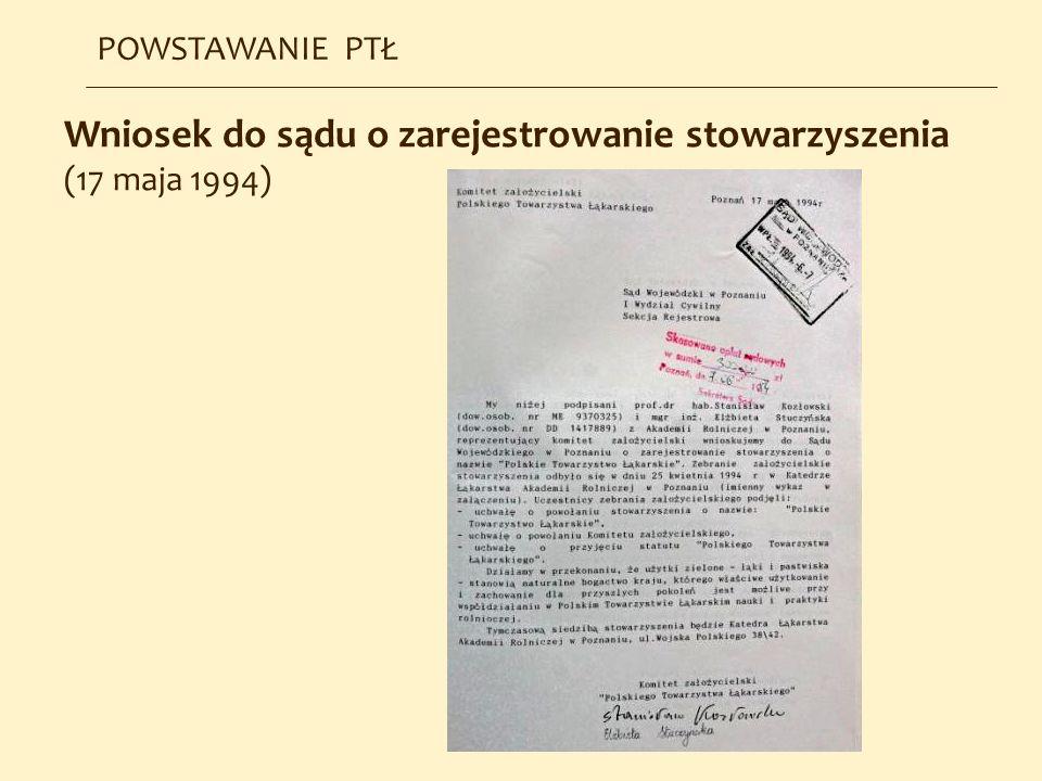 Wniosek do sądu o zarejestrowanie stowarzyszenia (17 maja 1994)