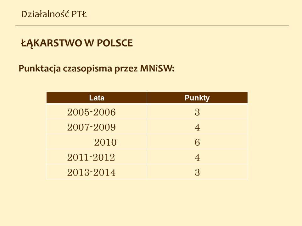 ŁĄKARSTWO W POLSCE Działalność PTŁ Punktacja czasopisma przez MNiSW: