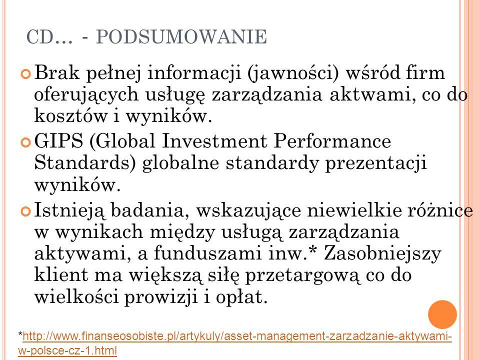 cd... - podsumowanie Brak pełnej informacji (jawności) wśród firm oferujących usługę zarządzania aktwami, co do kosztów i wyników.