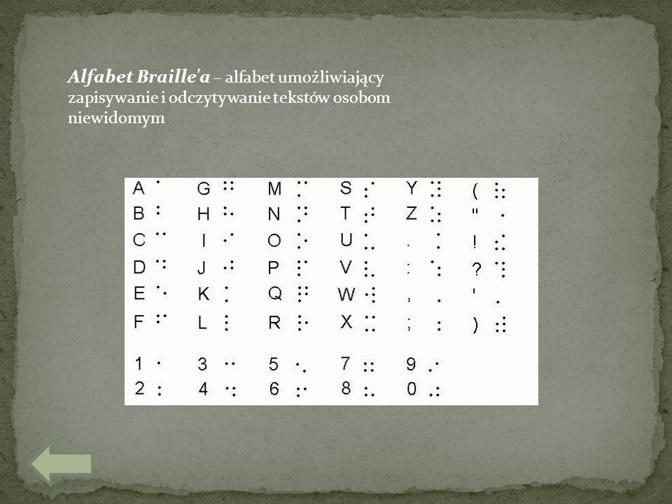 Alfabet Braille a – alfabet umożliwiający zapisywanie i odczytywanie tekstów osobom niewidomym