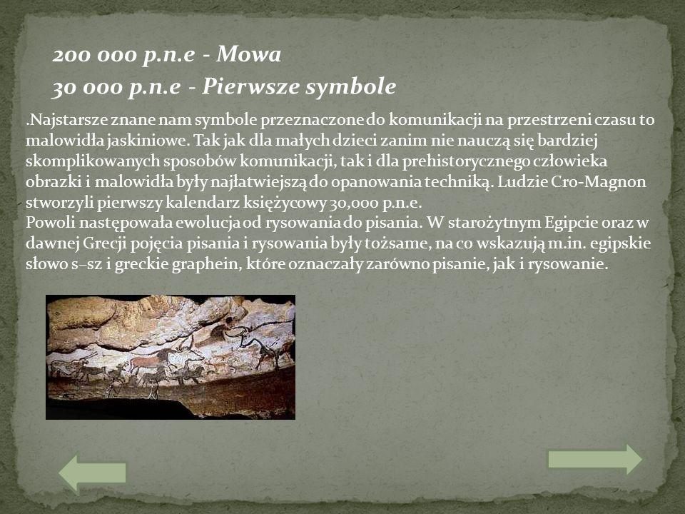 200 000 p.n.e - Mowa 30 000 p.n.e - Pierwsze symbole