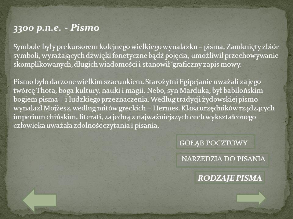 3300 p.n.e. - Pismo RODZAJE PISMA