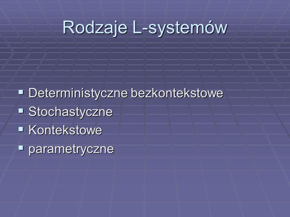 Rodzaje L-systemów Deterministyczne bezkontekstowe Stochastyczne