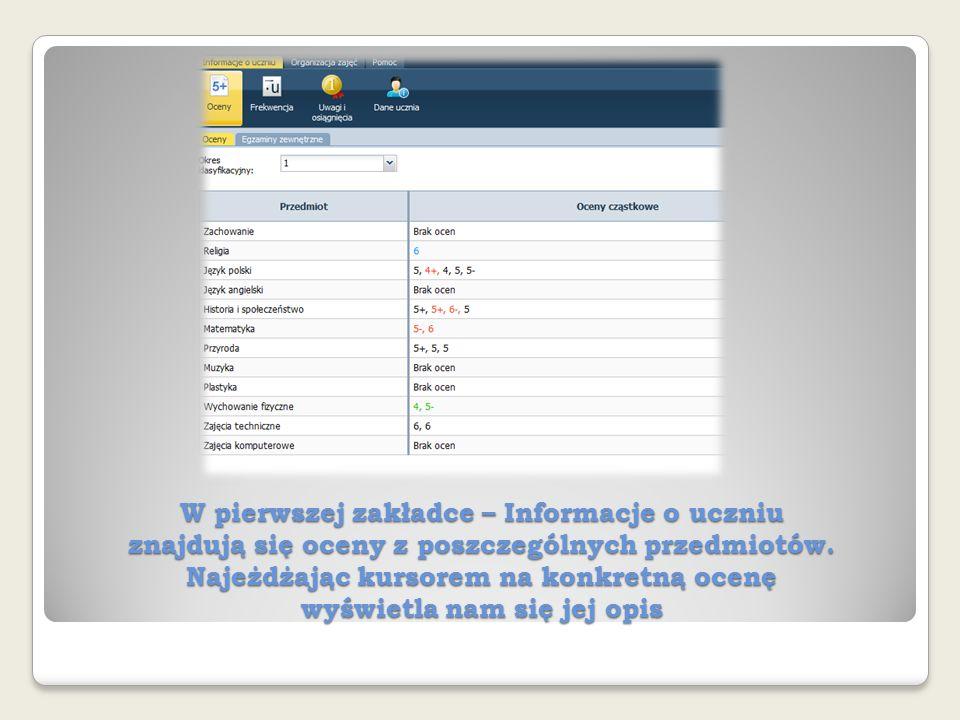 W pierwszej zakładce – Informacje o uczniu znajdują się oceny z poszczególnych przedmiotów.