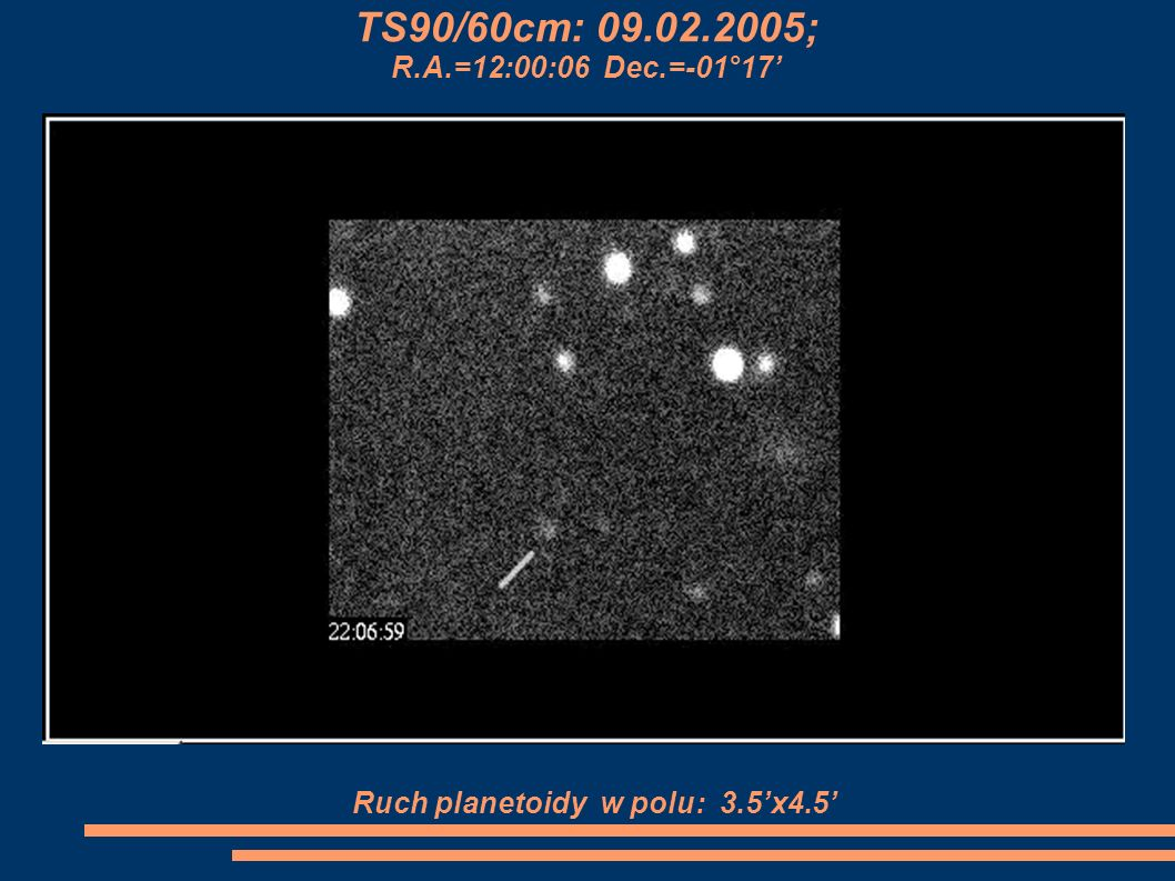 Ruch planetoidy w polu: 3.5'x4.5'