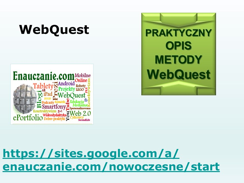 WebQuest https://sites.google.com/a/ enauczanie.com/nowoczesne/start