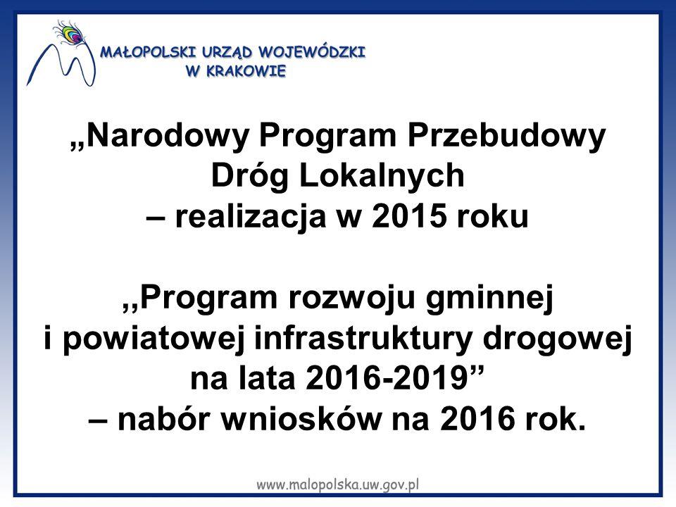 """""""Narodowy Program Przebudowy Dróg Lokalnych – realizacja w 2015 roku"""