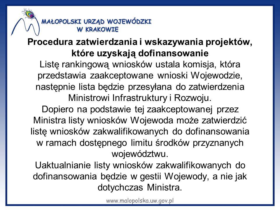Procedura zatwierdzania i wskazywania projektów, które uzyskają dofinansowanie Listę rankingową wniosków ustala komisja, która przedstawia zaakceptowane wnioski Wojewodzie, następnie lista będzie przesyłana do zatwierdzenia Ministrowi Infrastruktury i Rozwoju.