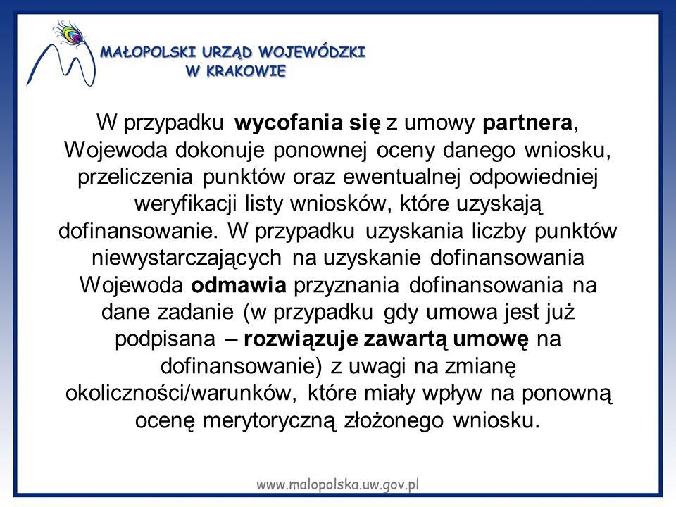 W przypadku wycofania się z umowy partnera, Wojewoda dokonuje ponownej oceny danego wniosku, przeliczenia punktów oraz ewentualnej odpowiedniej weryfikacji listy wniosków, które uzyskają dofinansowanie.