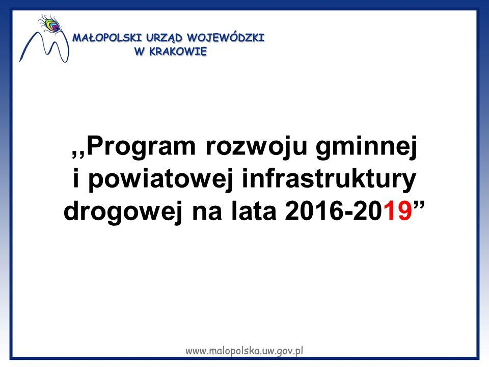 ,,Program rozwoju gminnej i powiatowej infrastruktury drogowej na lata 2016-2019