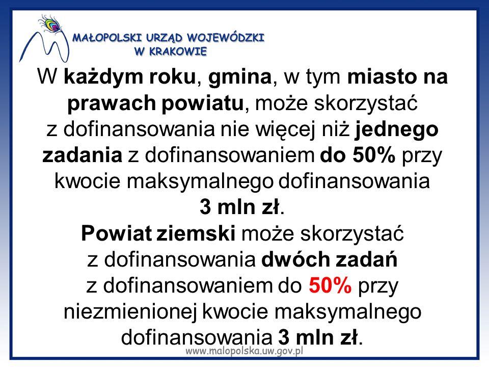 W każdym roku, gmina, w tym miasto na prawach powiatu, może skorzystać z dofinansowania nie więcej niż jednego zadania z dofinansowaniem do 50% przy kwocie maksymalnego dofinansowania 3 mln zł.