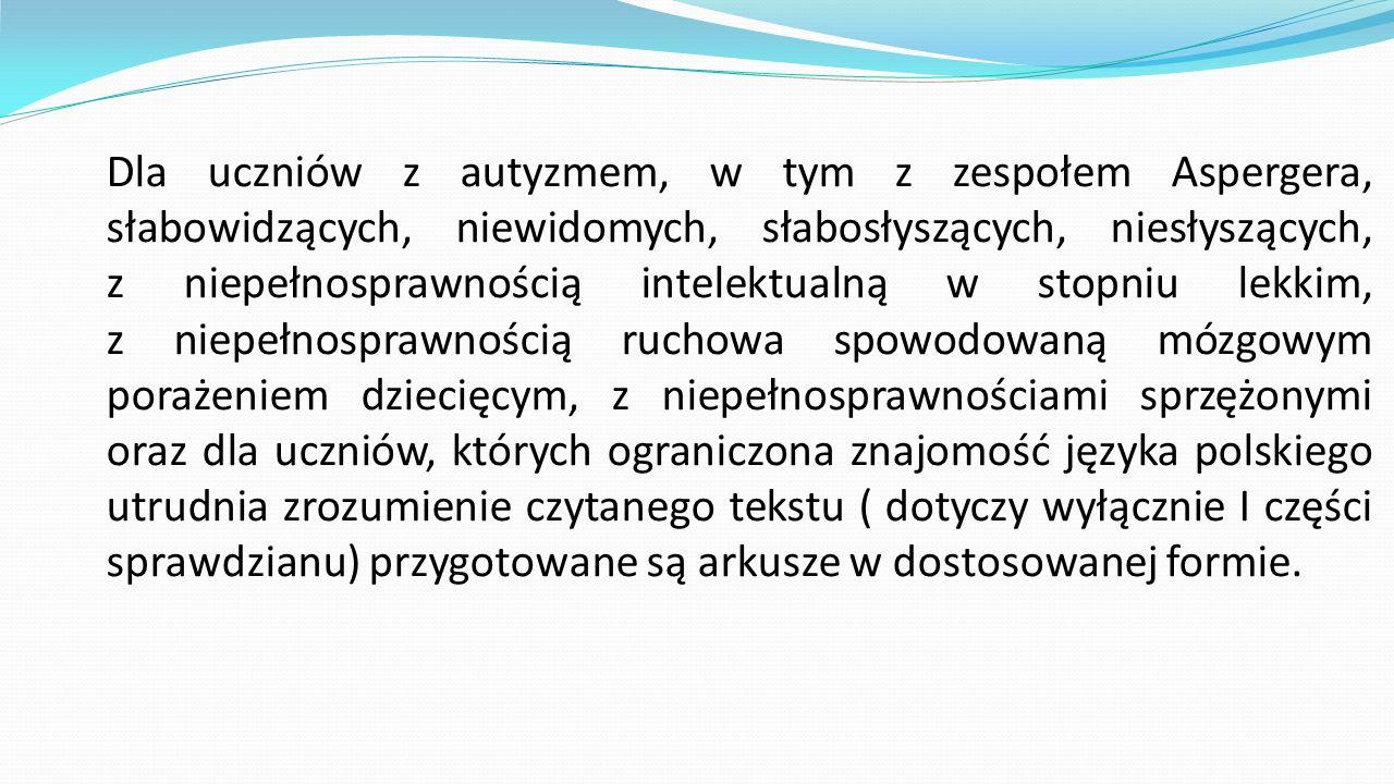 Dla uczniów z autyzmem, w tym z zespołem Aspergera, słabowidzących, niewidomych, słabosłyszących, niesłyszących, z niepełnosprawnością intelektualną w stopniu lekkim, z niepełnosprawnością ruchowa spowodowaną mózgowym porażeniem dziecięcym, z niepełnosprawnościami sprzężonymi oraz dla uczniów, których ograniczona znajomość języka polskiego utrudnia zrozumienie czytanego tekstu ( dotyczy wyłącznie I części sprawdzianu) przygotowane są arkusze w dostosowanej formie.