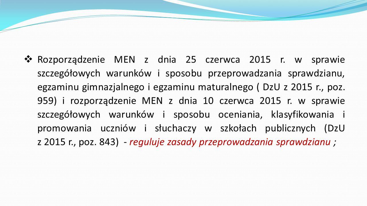 Rozporządzenie MEN z dnia 25 czerwca 2015 r