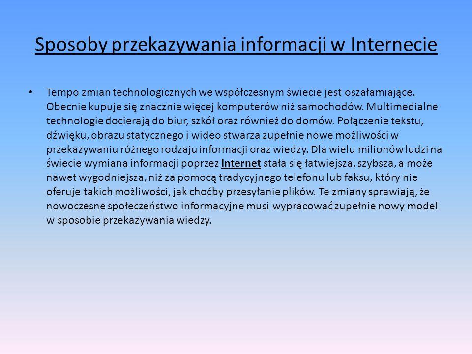 Sposoby przekazywania informacji w Internecie