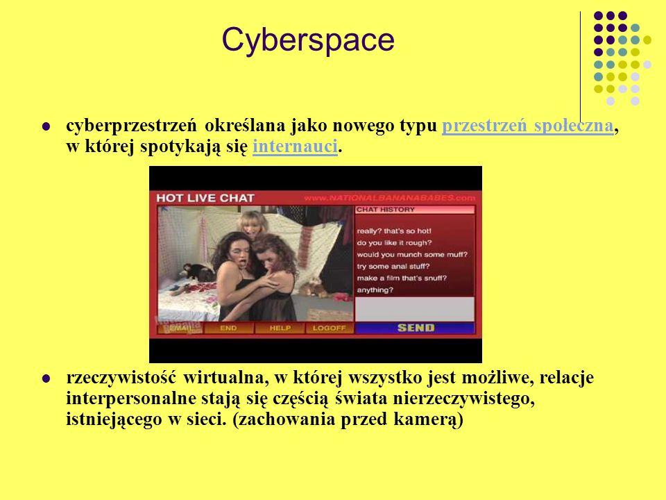 Cyberspace cyberprzestrzeń określana jako nowego typu przestrzeń społeczna, w której spotykają się internauci.