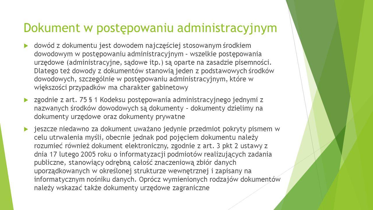 Dokument w postępowaniu administracyjnym