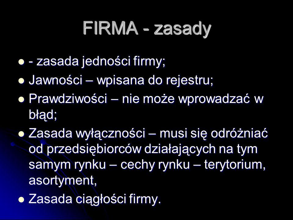 FIRMA - zasady - zasada jedności firmy;