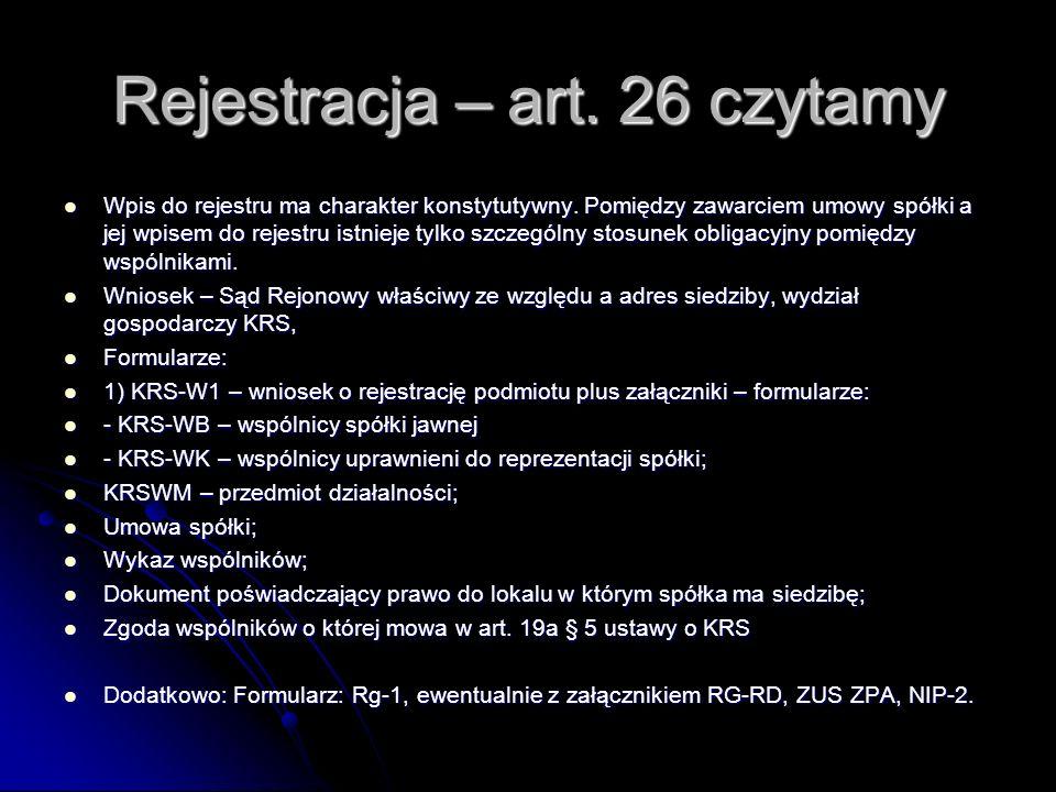 Rejestracja – art. 26 czytamy