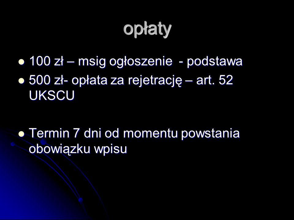 opłaty 100 zł – msig ogłoszenie - podstawa