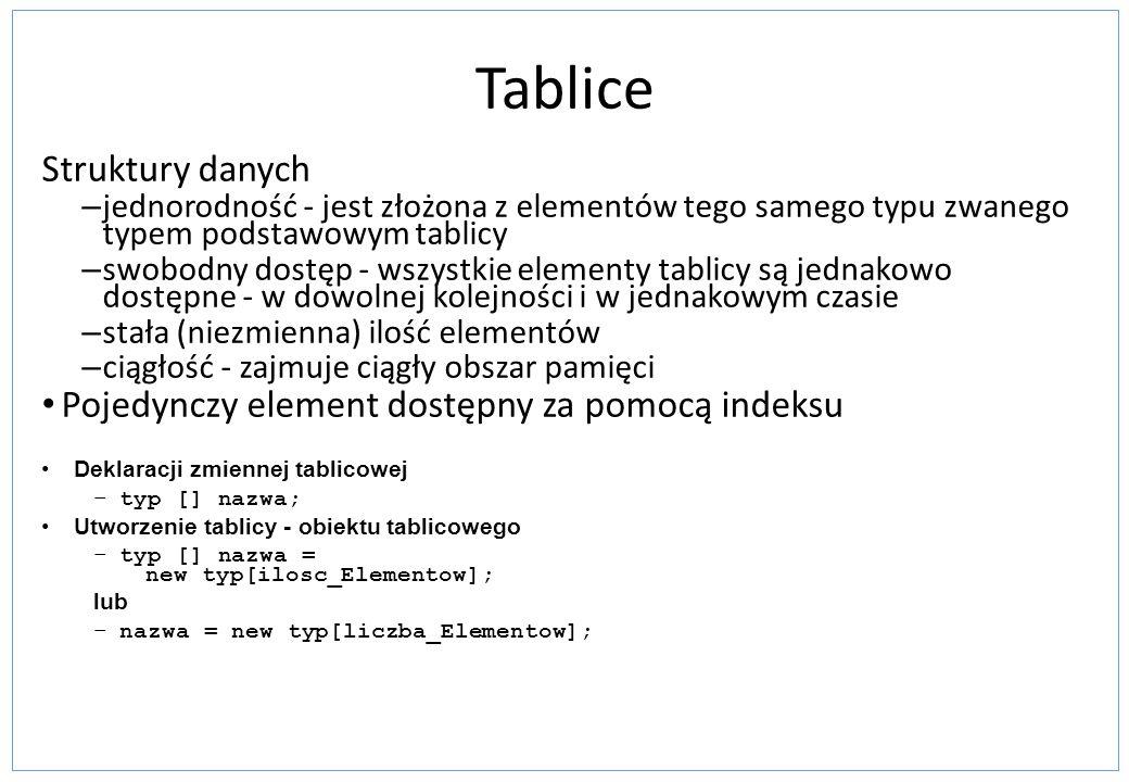 Tablice Struktury danych Pojedynczy element dostępny za pomocą indeksu