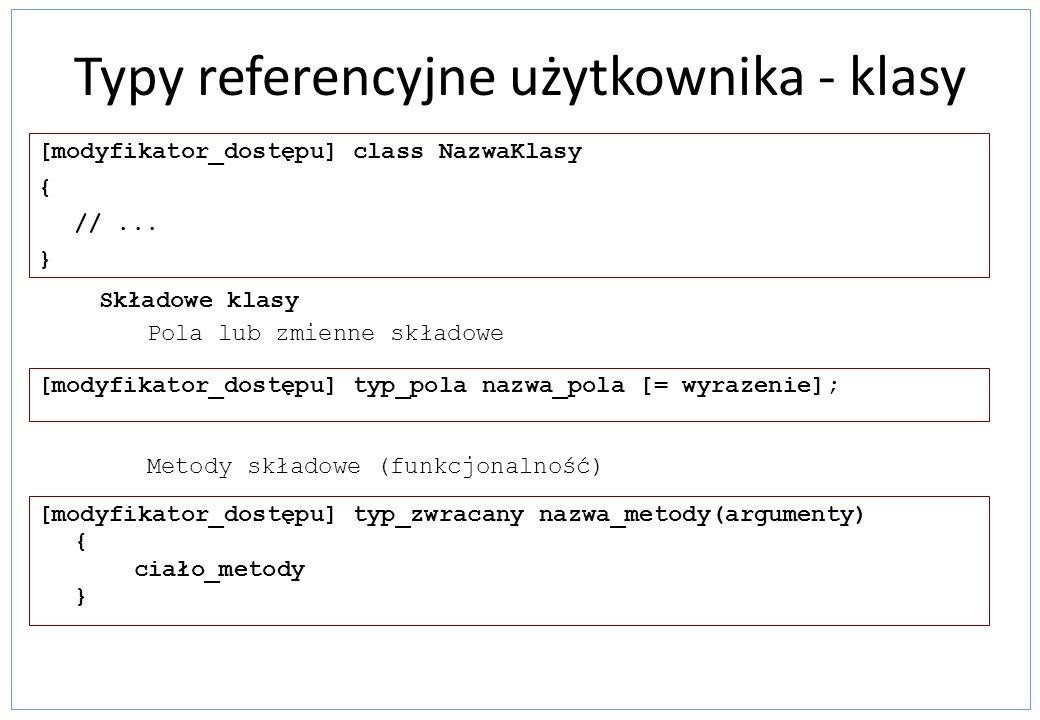 Typy referencyjne użytkownika - klasy