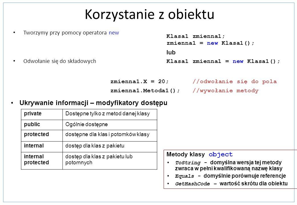 Korzystanie z obiektu Ukrywanie informacji – modyfikatory dostępu