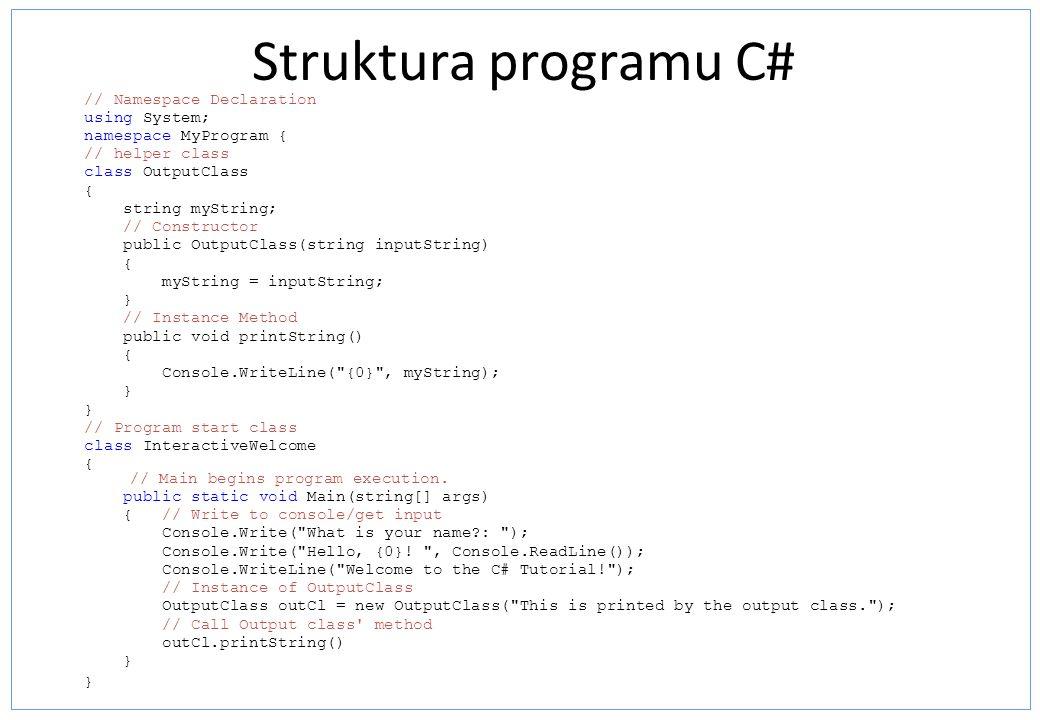 Struktura programu C#