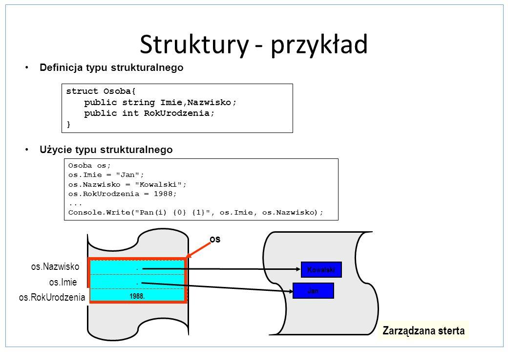 Struktury - przykład os Zarządzana sterta