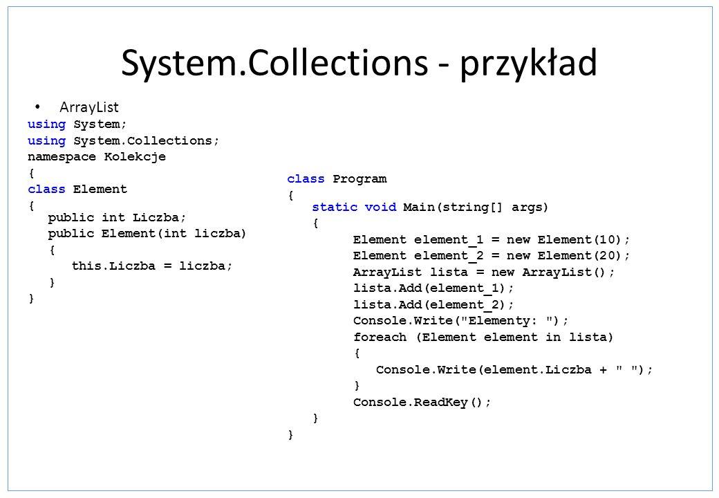 System.Collections - przykład