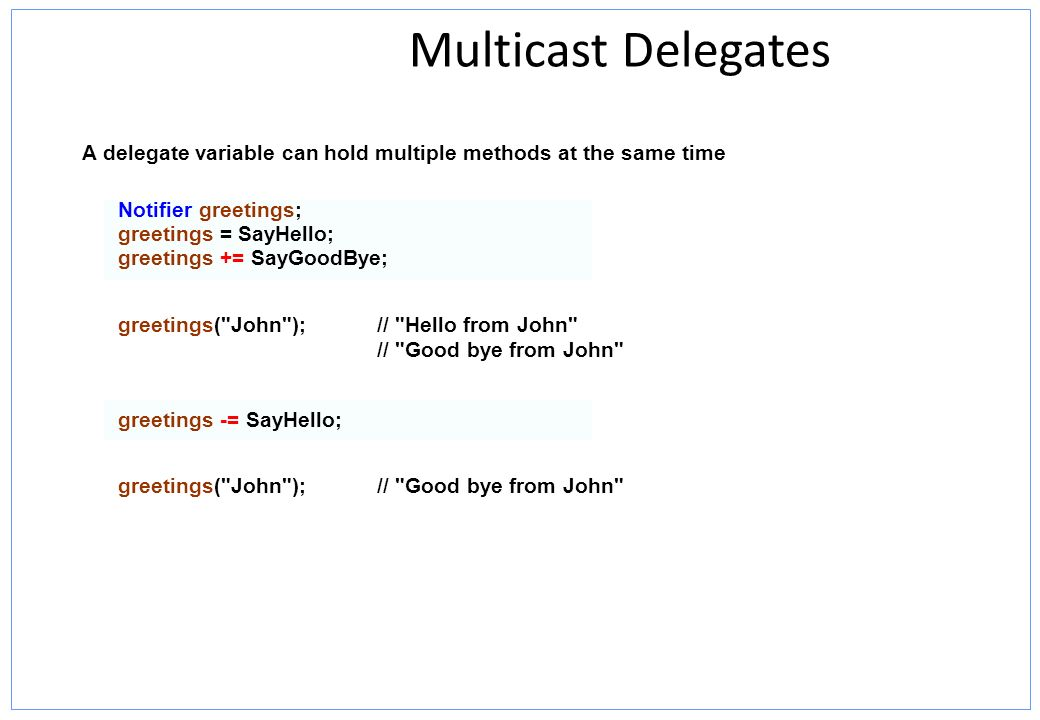 Multicast Delegates A delegate variable can hold multiple methods at the same time. Notifier greetings;
