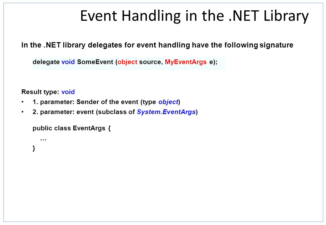 Event Handling in the .NET Library