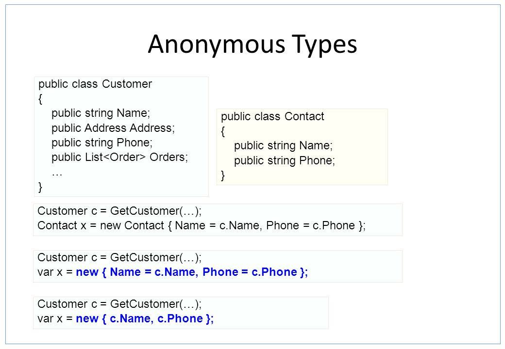 Anonymous Types public class Customer { public string Name;