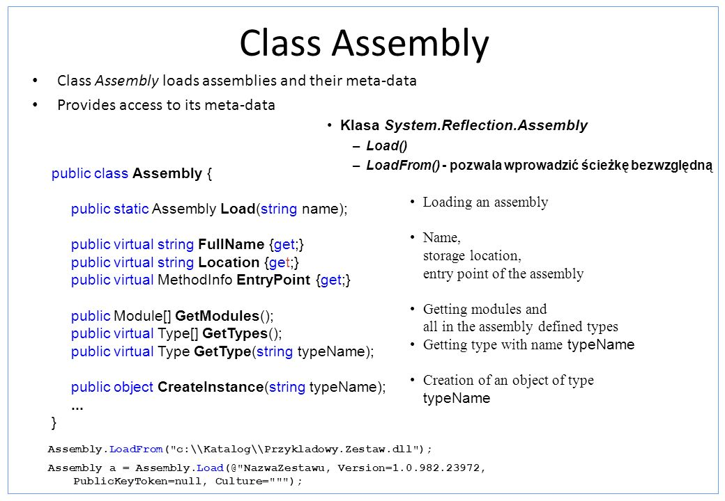 Class Assembly Class Assembly loads assemblies and their meta-data