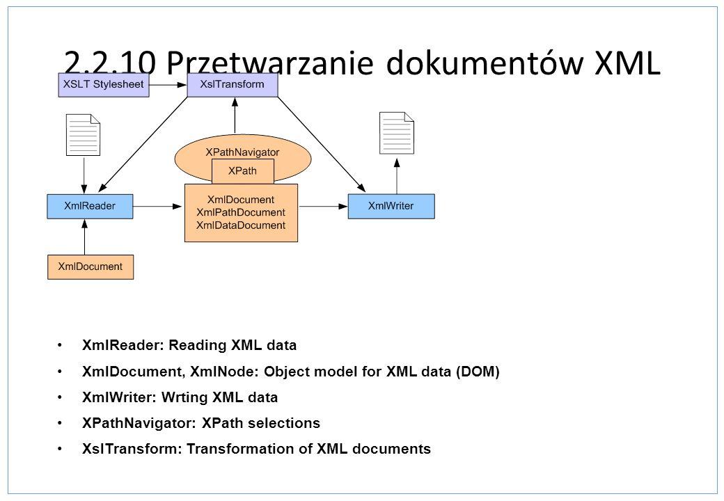 2.2.10 Przetwarzanie dokumentów XML