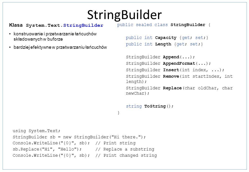 StringBuilder Klasa System.Text.StringBuilder
