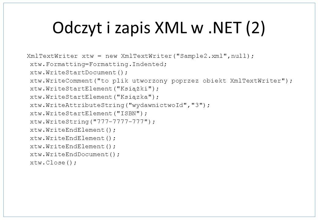 Odczyt i zapis XML w .NET (2)