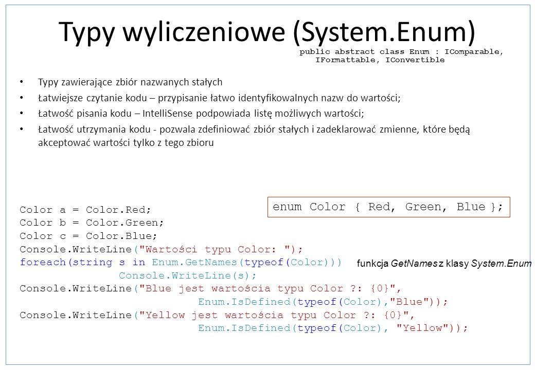 Typy wyliczeniowe (System.Enum)