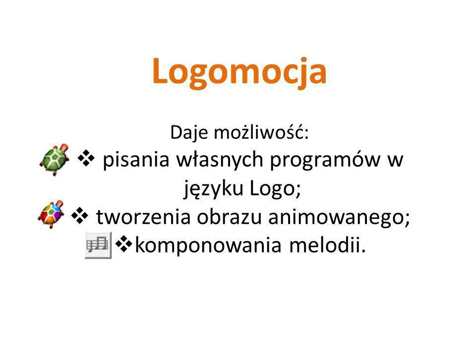 Logomocja pisania własnych programów w języku Logo;