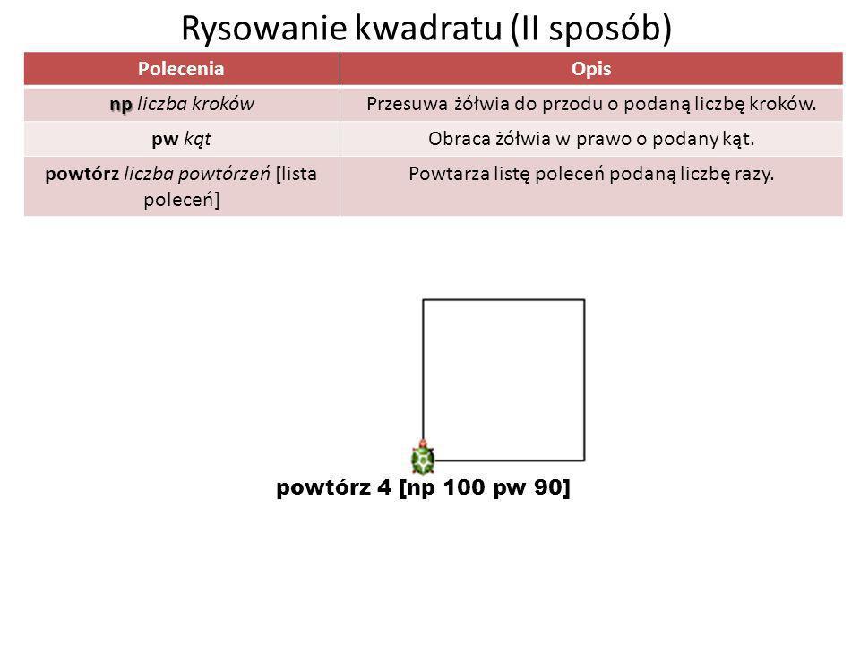 Rysowanie kwadratu (II sposób)