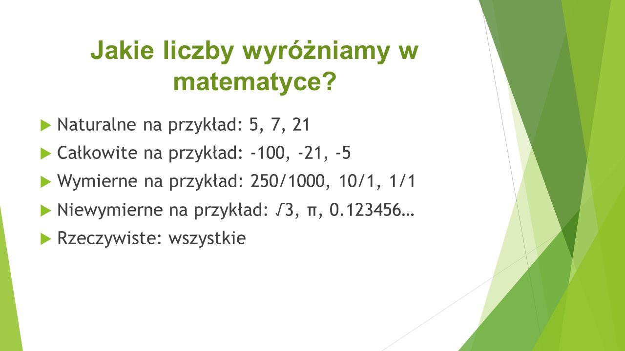 Jakie liczby wyróżniamy w matematyce