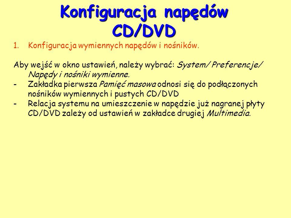 Konfiguracja napędów CD/DVD