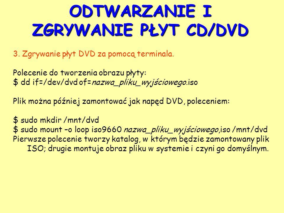 ODTWARZANIE I ZGRYWANIE PŁYT CD/DVD