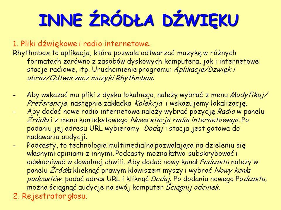 INNE ŹRÓDŁA DŹWIĘKU 1. Pliki dźwiękowe i radio internetowe.