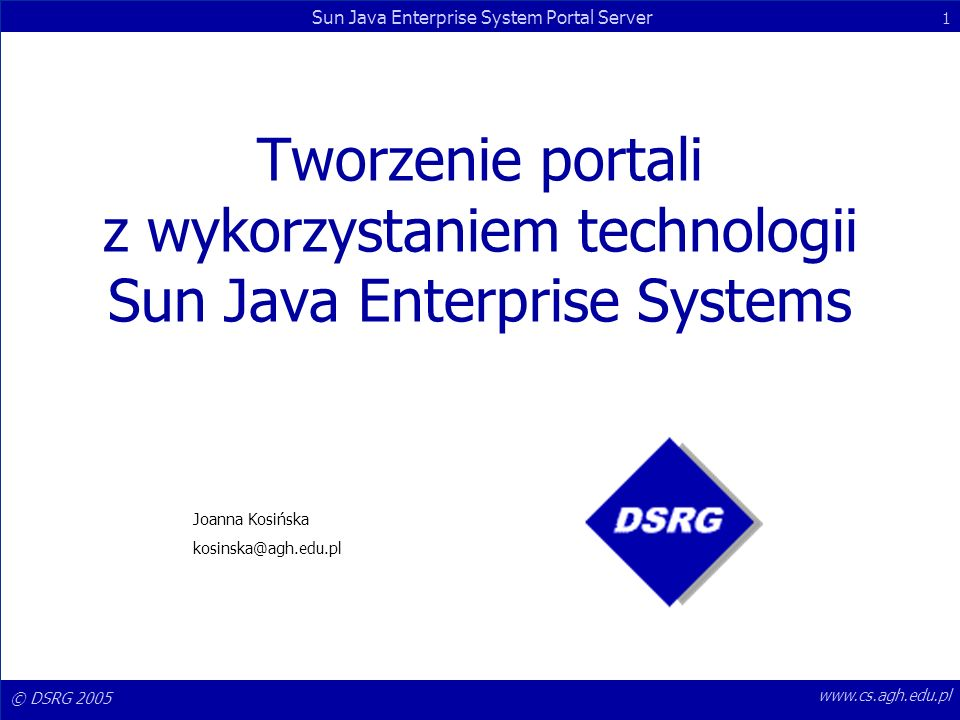 Tworzenie portali z wykorzystaniem technologii Sun Java Enterprise Systems