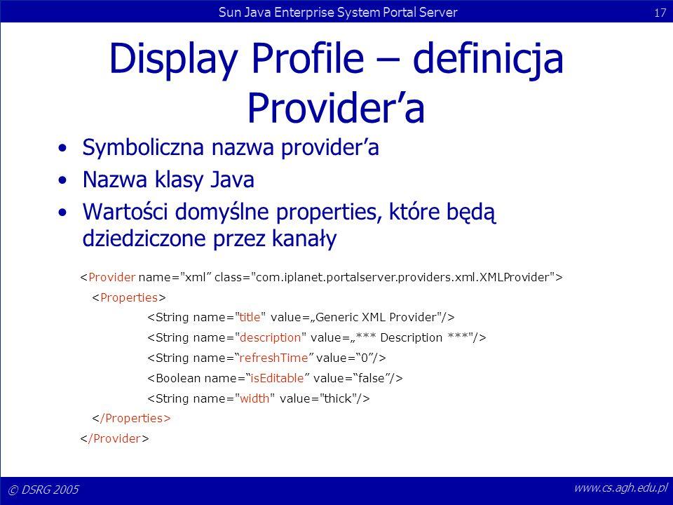 Display Profile – definicja Provider'a