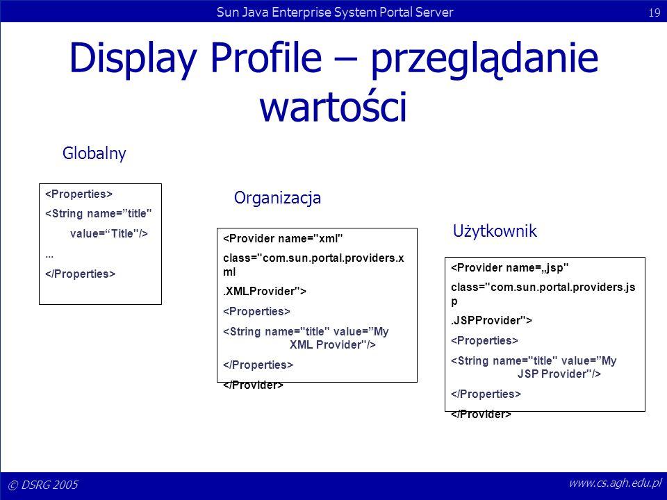 Display Profile – przeglądanie wartości