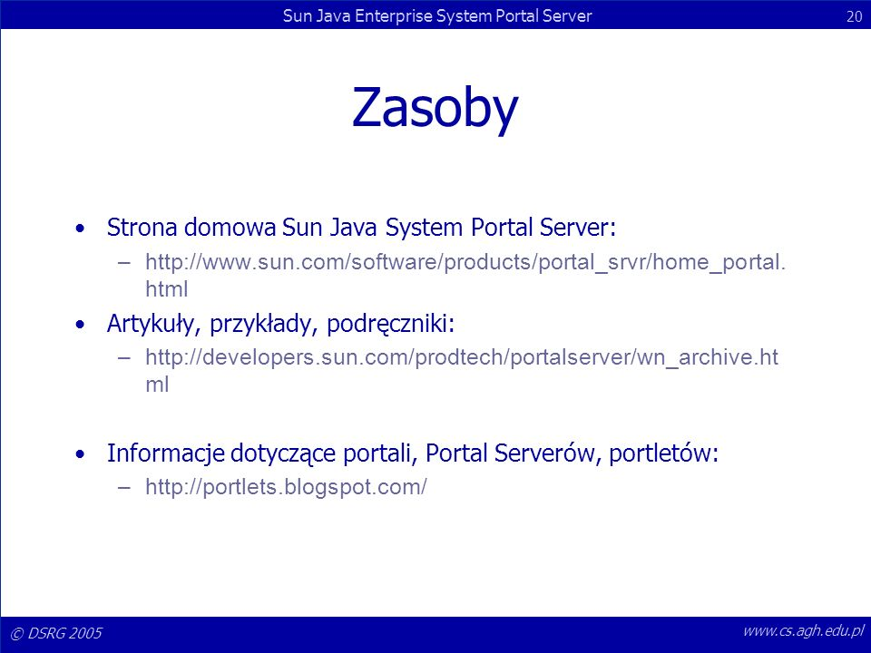 Zasoby Strona domowa Sun Java System Portal Server: