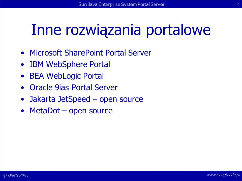 Inne rozwiązania portalowe