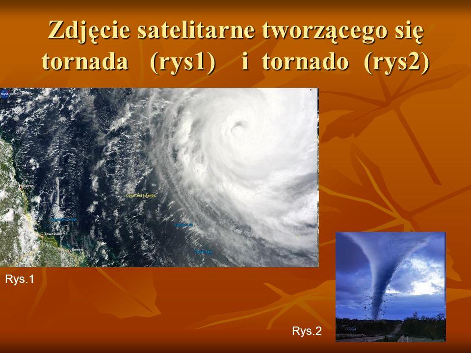 Zdjęcie satelitarne tworzącego się tornada (rys1) i tornado (rys2)